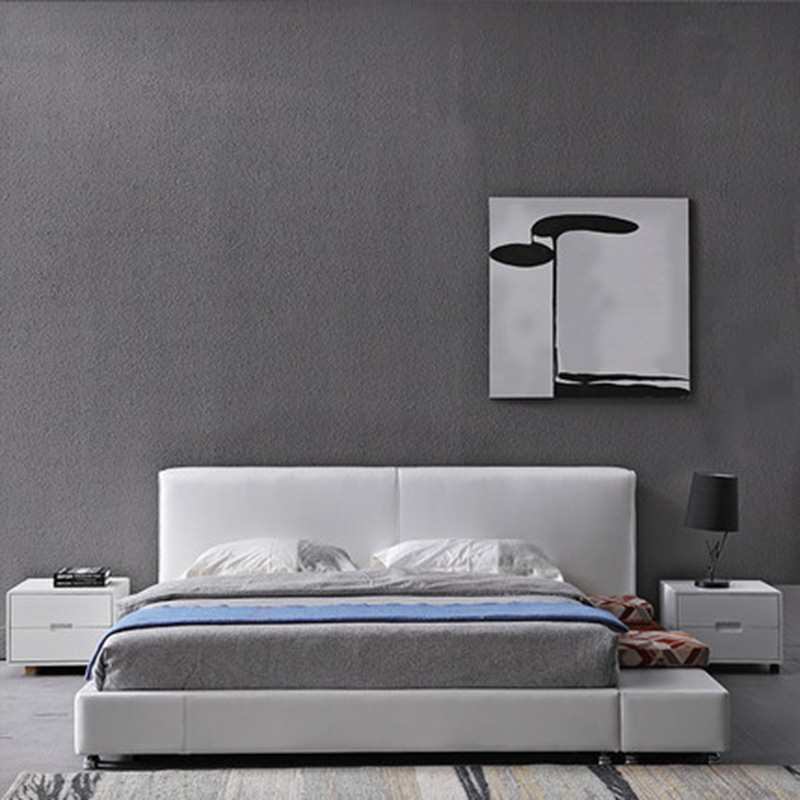 Tatami master bedroom Nordic leather leather double small apartment modern minimalist bed simple odern nordic leather double wedding leather bed furniture
