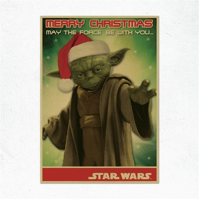 star wars master yoda posters wall stickers kraft paper home decoration vintage styles yoda father merry