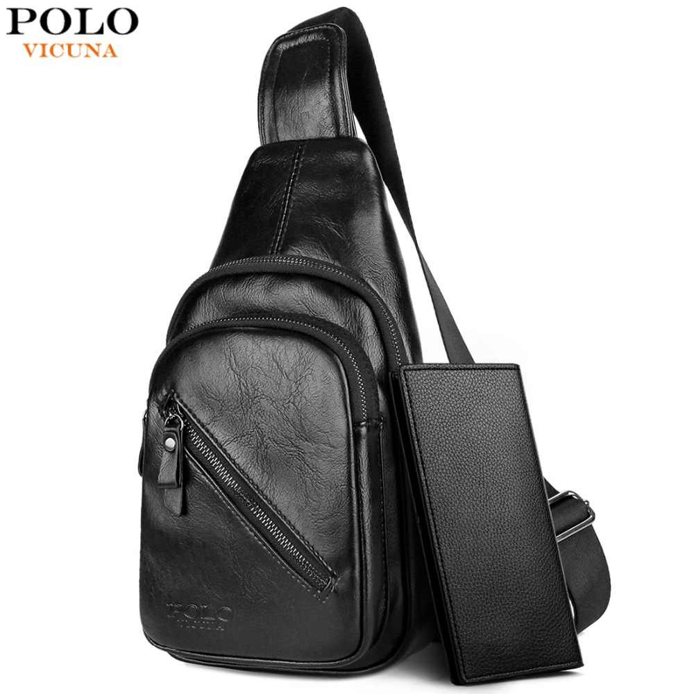 4ec4391a01a4 Detail Feedback Questions about VICUNA POLO New Solid Black Men Fashion  Messenger Bag Brand Business Men s Large Capacity Chest Bags Casual Sling  Bag For ...
