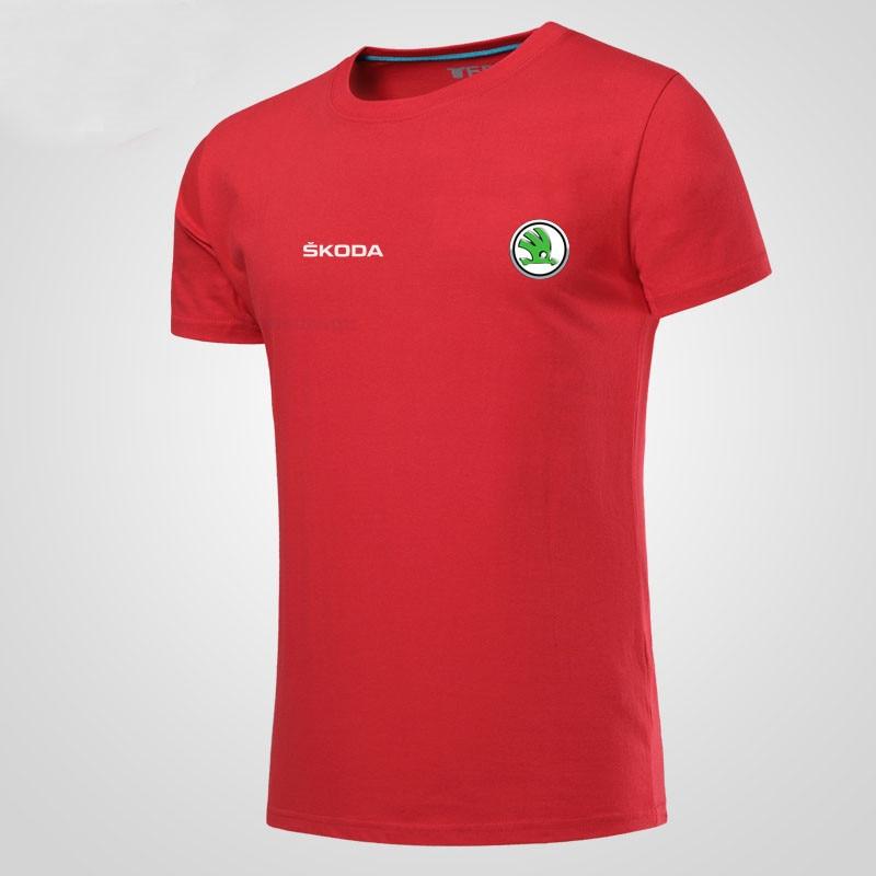 Melhor 100% Camiseta de algodão T Shirt O pescoço Curto Luva Camisas Do  LOGOTIPO Do Carro Skoda Barato Online Preço. 0fb51e3d2da9d
