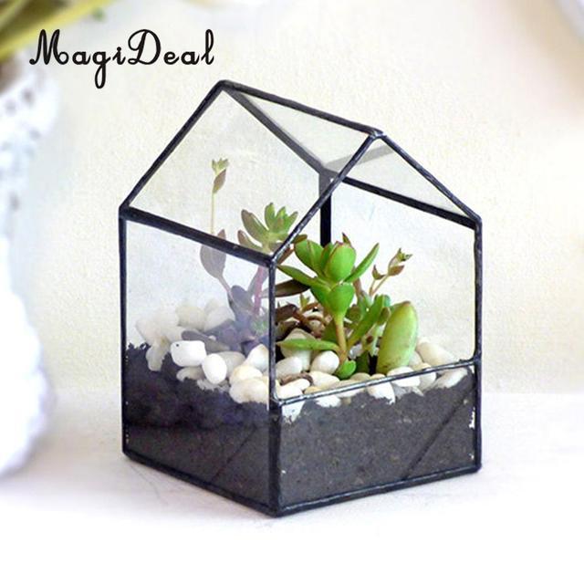 Magideal Diy Geometric Glass House Terrarium Flower Pot Plant