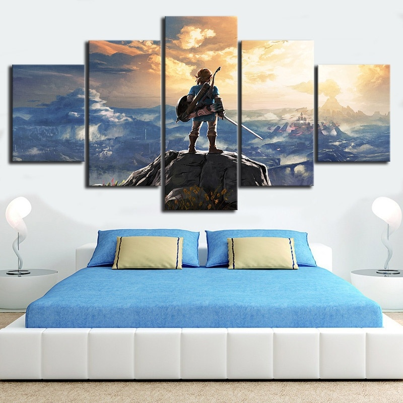 5 Piece The Legend of Zelda Breath of The Wild Video Game Poster HD Printed Canvas Art Wall Pictures for Living Room 1