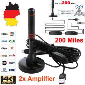 Portable TV HDTV Antenna Aerial DVB-T Amplified 25dBi 200 Miles Range Indoor Car 1080P High Definition Caravan Digital Freeview(China)