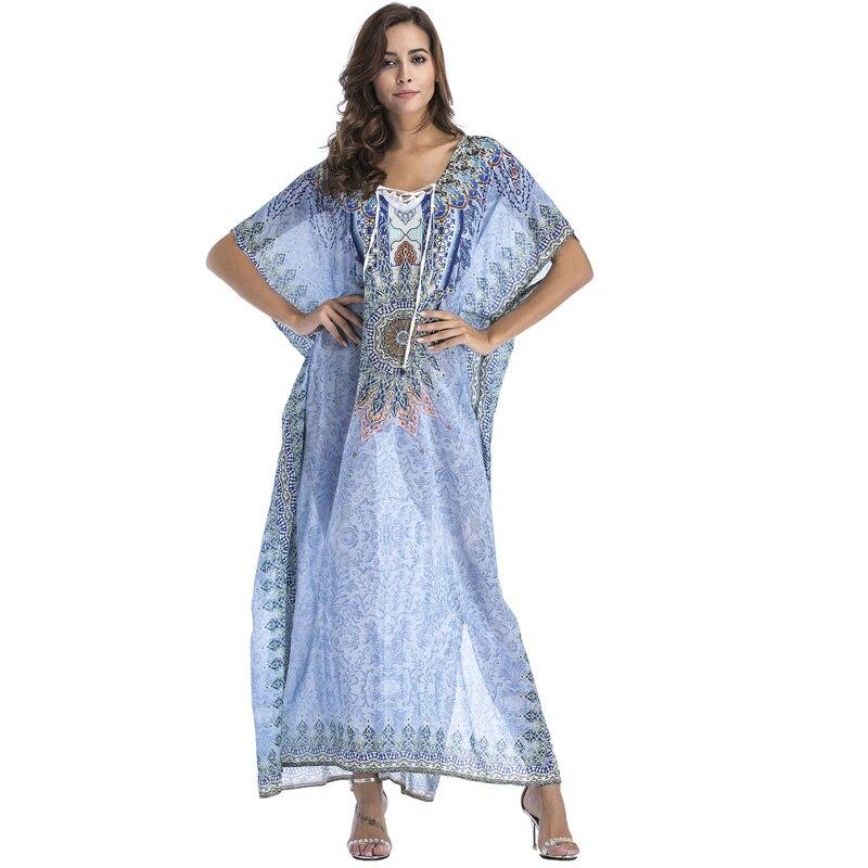 Loose Maxi Boho Dress Ethnic Printed Sarongs Sundress Bohemian Robe Femme Chiffon Clothing Casual Long Split Vestidos Beach Wear