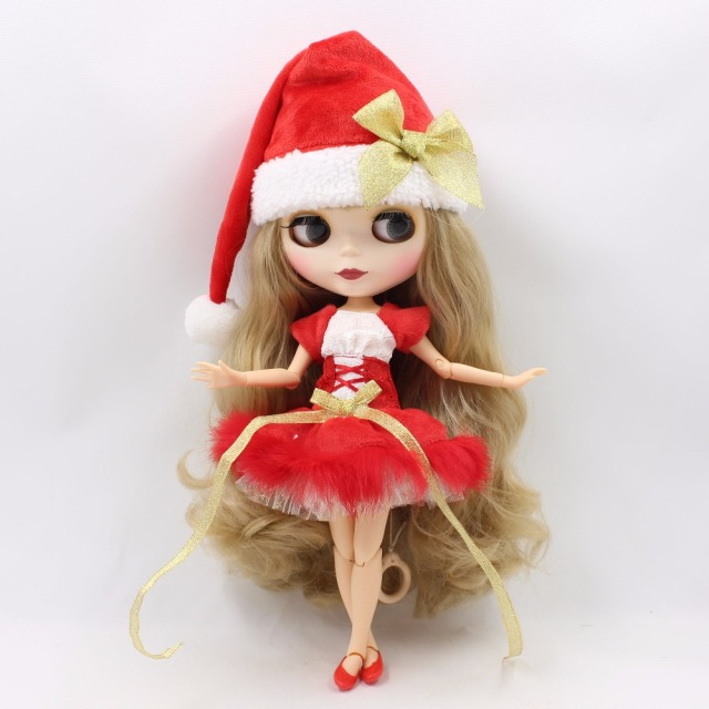 TBL Neo Blythe Doll Christmas Blonde Jointed Body Premium 11 Red Combo Blythe Options Free Gifts
