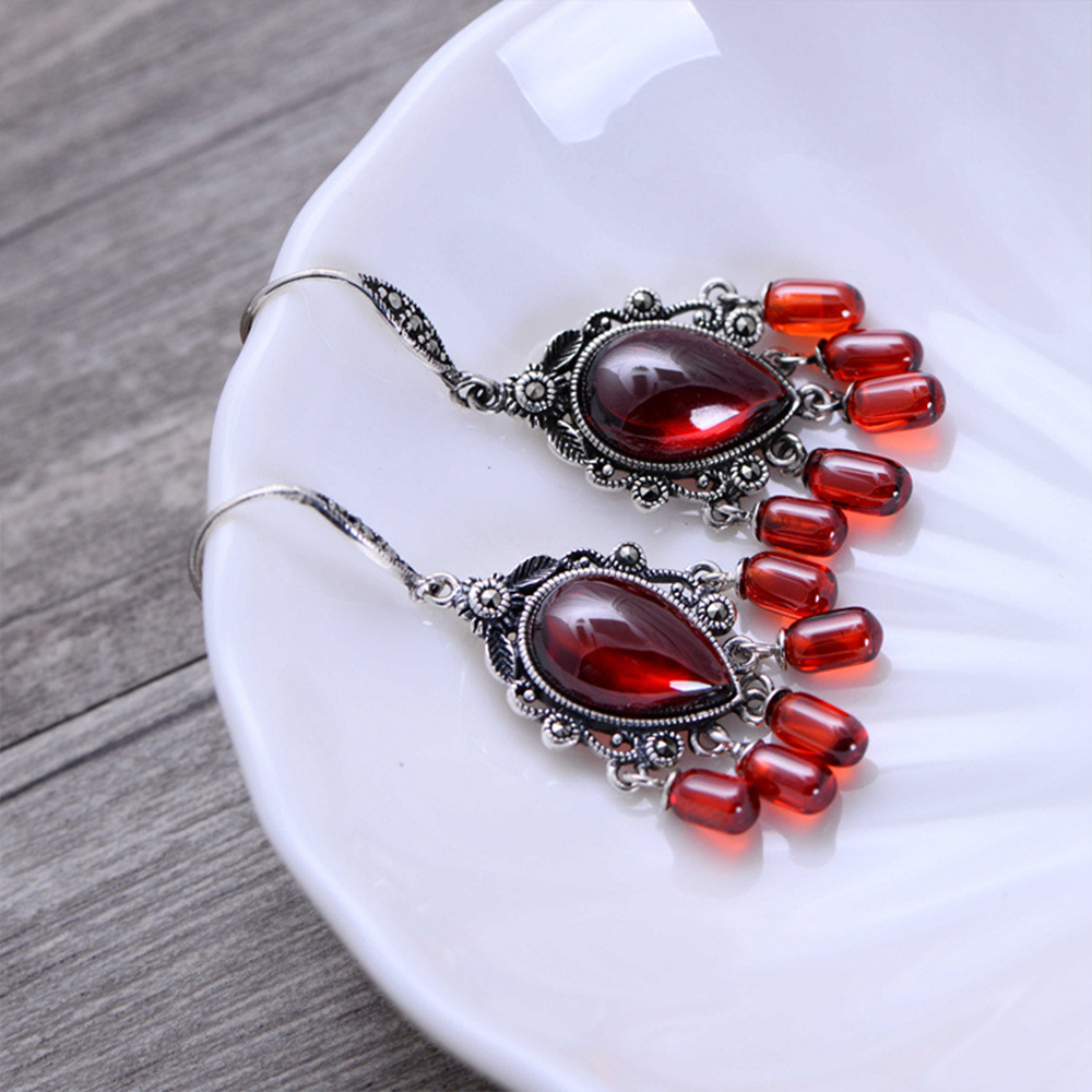 MetJakt Natural Black Agate/Garnet Drop Earrings with Zircon Solid 925 Sterling Silver Earring for Women Vintage Jewelry metjakt bohemia natural agate white chalcedony drop earrings with zircon solid 925 sterling silver earring for women jewelry