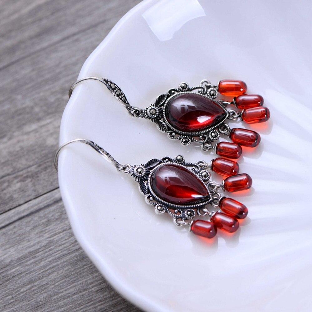 MetJakt naturel noir Agate/grenat boucles d'oreilles avec Zircon solide 925 Sterling argent boucle d'oreille pour les femmes bijoux Vintage