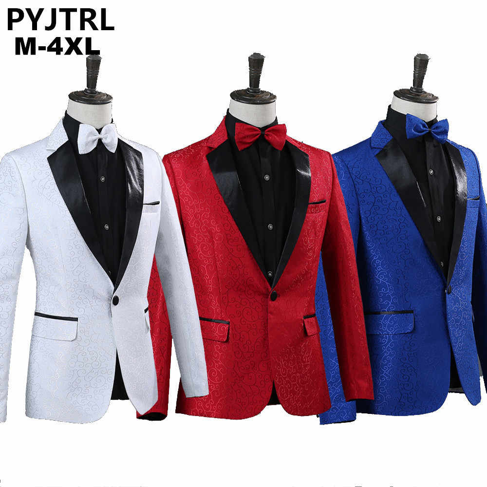 PYJTRL Men Royal Blue White Red Jacquard Stage Costumes Singer Wedding Suit Jacket Men Blazer Designs Jaqueta Masculino Slim Fit