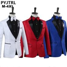PYJTRL Men Royal Blue White Red Jacquard Stage Costumes Singer Wedding Suit Jacket Men Blazer Designs Jaqueta Masculino Slim Fit