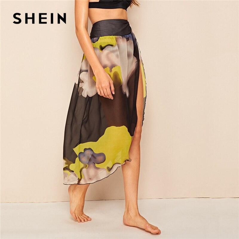 SHEIN Sexy Shirred Waist Split Thigh Abstract Print Sheer Mesh Skirts Womens Summer Multicolor Asymmetrical Hem Long Skirt 2