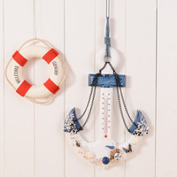 2017 Vintage Wood Anchor Thermometer figurine Large anchor Decor Hanging Birthday Craft Art Wall Hanger Hook Home Decoration