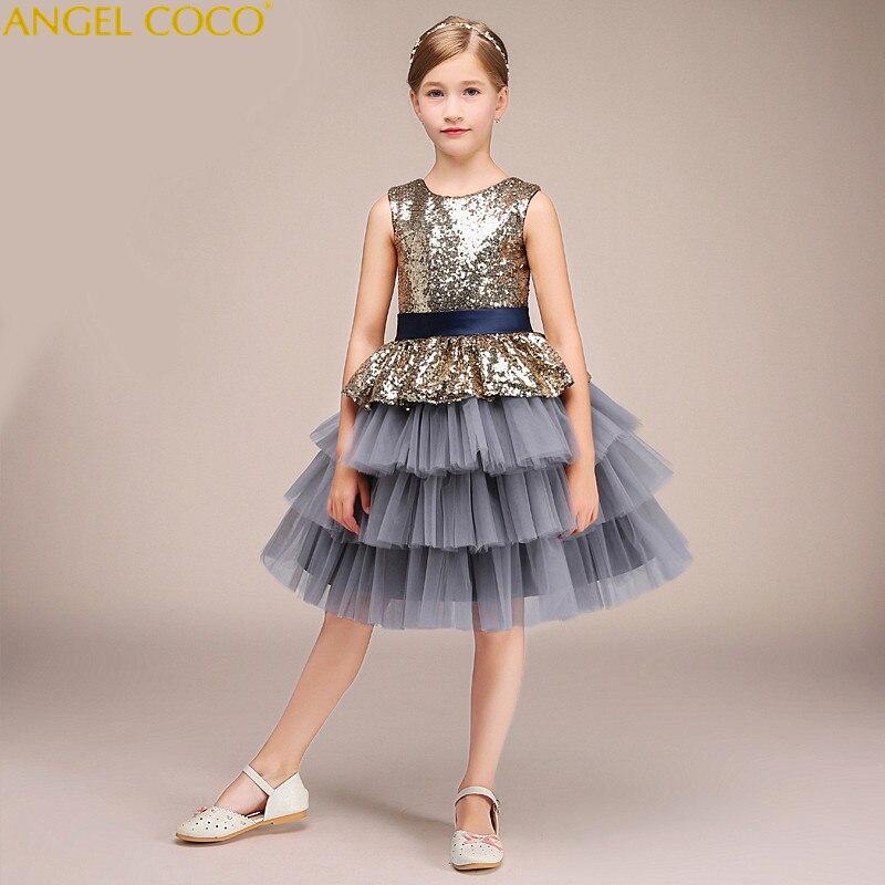 Short Children'S Costume For Kids Gray Sequins Bow Girl Evening Dress Princess Vestido Infantil Catwalk Gown Deguisement Enfant robe cleopatre deguisement