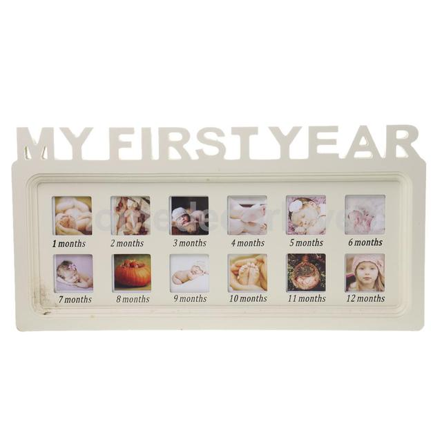 Table / Hanging Baby One Year Photo Frame Wood Picture Photograph ...