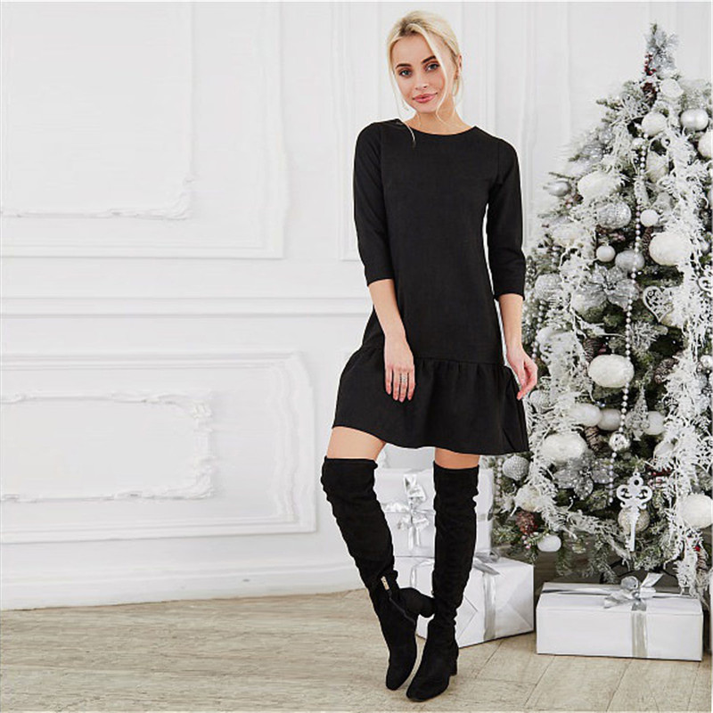Fall 2018 Women Suede Casual Three Quarter Sleeve T Shirt Mini Dress Autumn Winter Fashion Vintage Ruffle Christmas Dresses 2