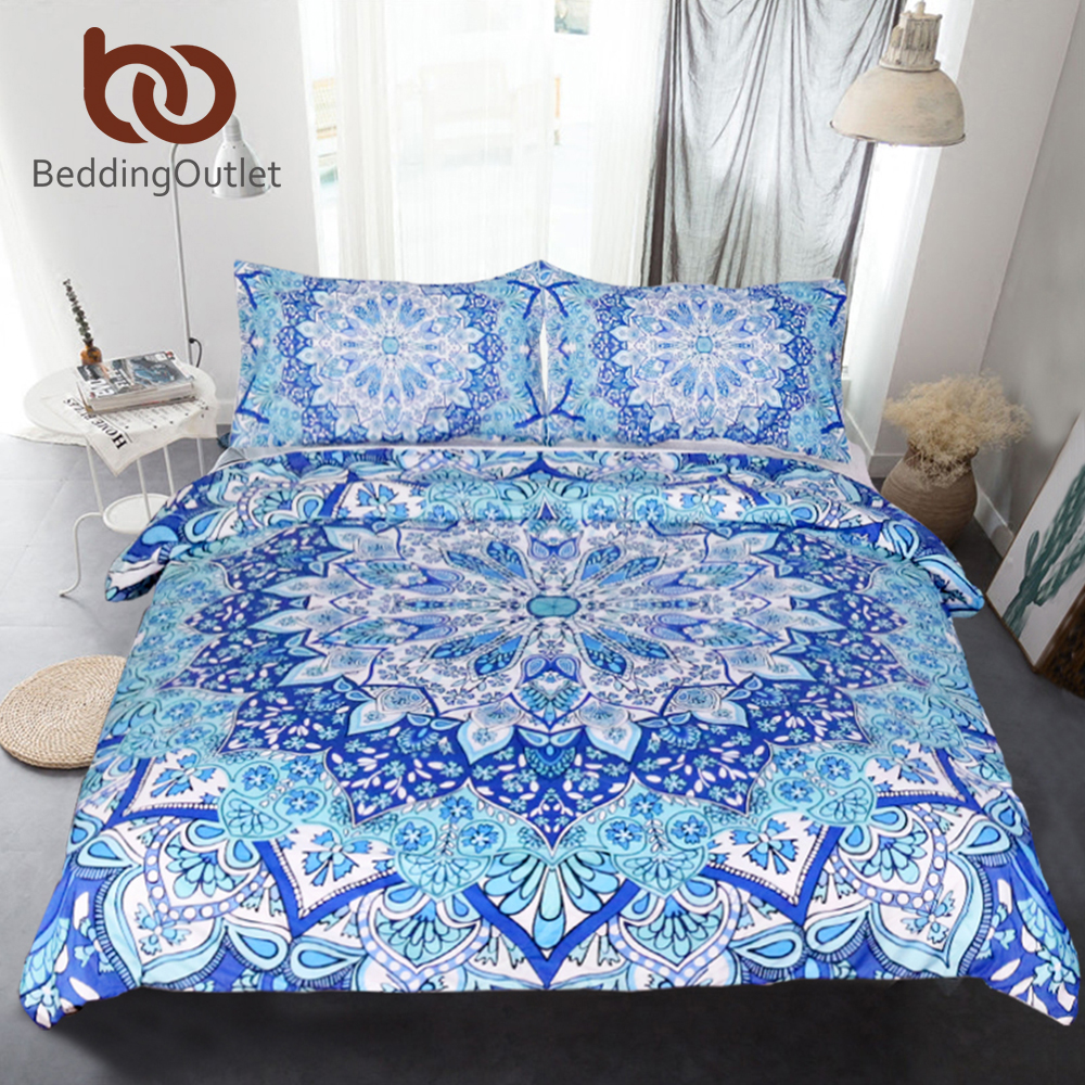 BeddingOutlet 3 Pezzo Della Boemia Bedding Set Floreale Paisley Pattern Duvet Cover Set Blue Sky India Hippie Mandala Copriletto 4 Dimensioni