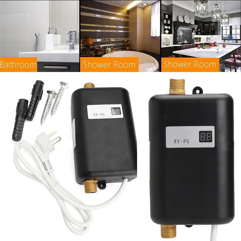 220 Вт В 3800 в мини мгновенный проточный Электрический нагреватель горячей воды для ванной комнаты Смесители для дома кухня душ горячая вода к...