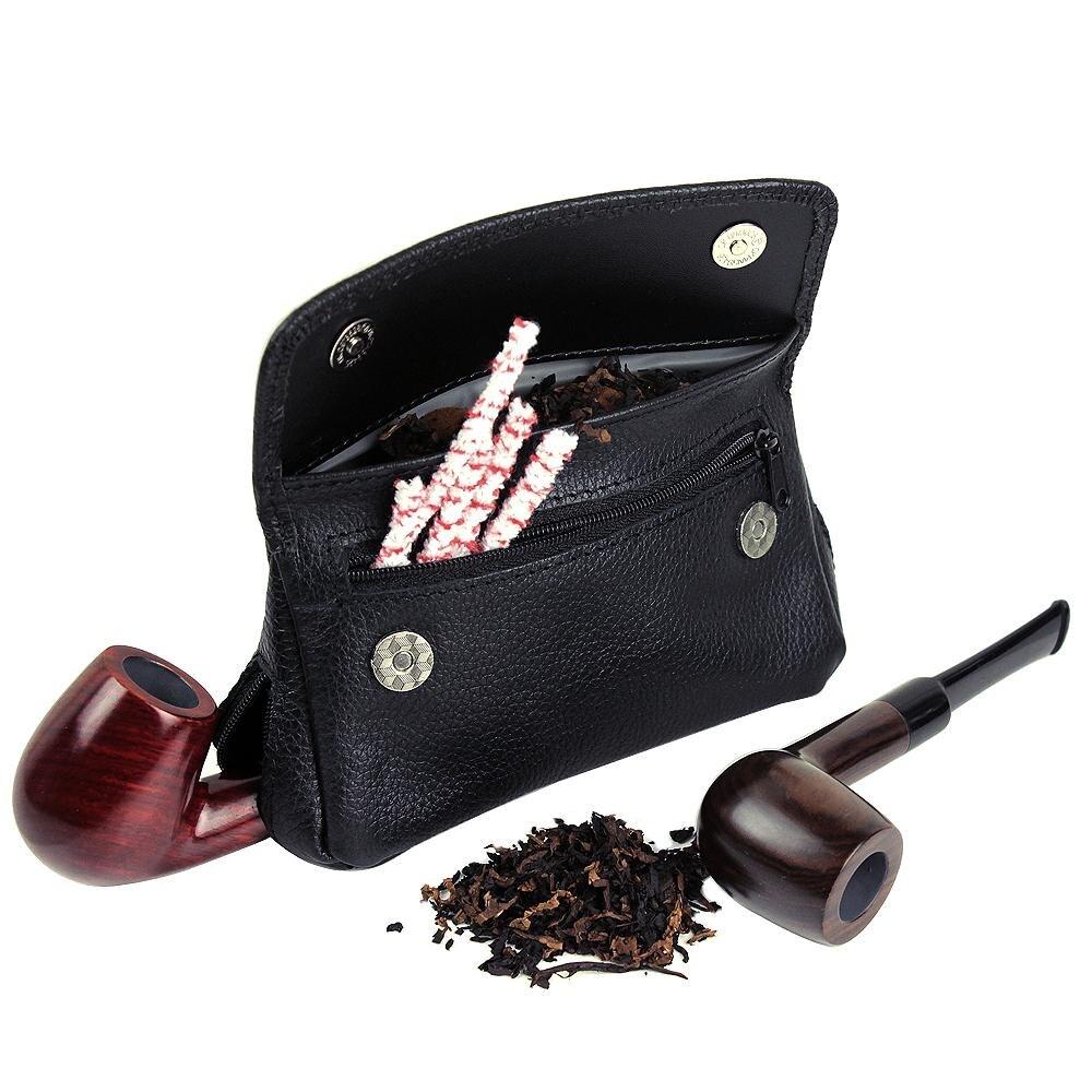 Genuine Leather Smoking Tobacco Pipe Pou
