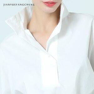 Image 5 - Kadın pamuk beyaz bluz POLO GÖMLEK standı yaka dokuz çeyrek kollu artı boyutu zarif ofis bayanlar resmi elbise çalışma üstleri