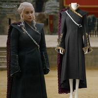 Daenerys Targaryen Cosplay Costume Game of Thrones Season 7 Outfit Fancy Dress Black Clothes Halloween Cloak Boots Adult Women