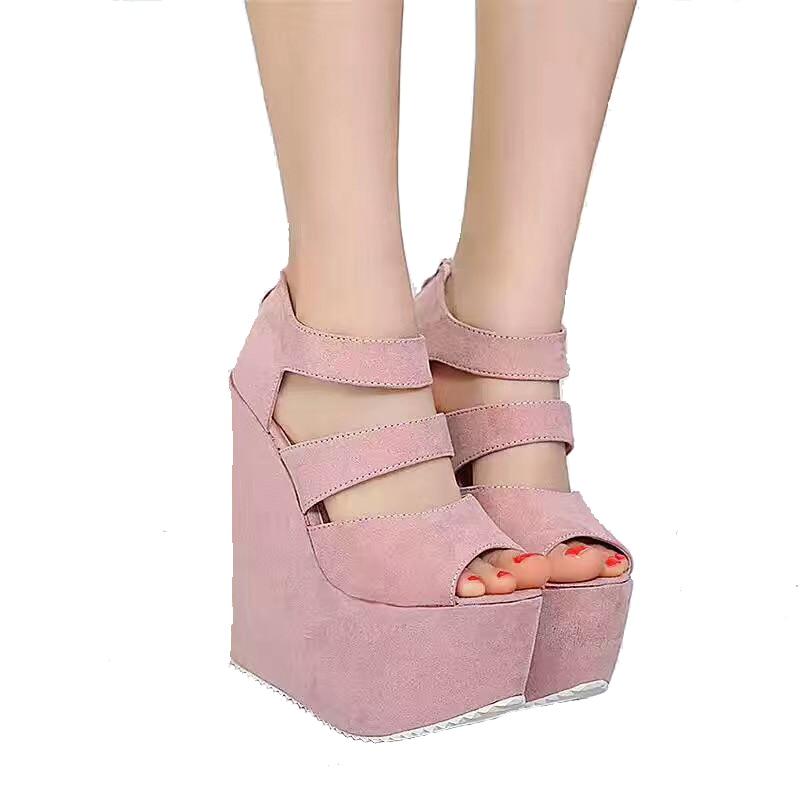 17cm High Heels Platform Wedges Shoes For Women Fashion Ladies