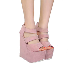 17cm High Heels Platform Wedges Shoes For Women Fashion Ladies Black High Heel Shoes Summer Night Party Ladies High Heel Sandals asumer black apricot rose red fashion summer ladies shoes buckle thick platform prom shoes women high heels sandals
