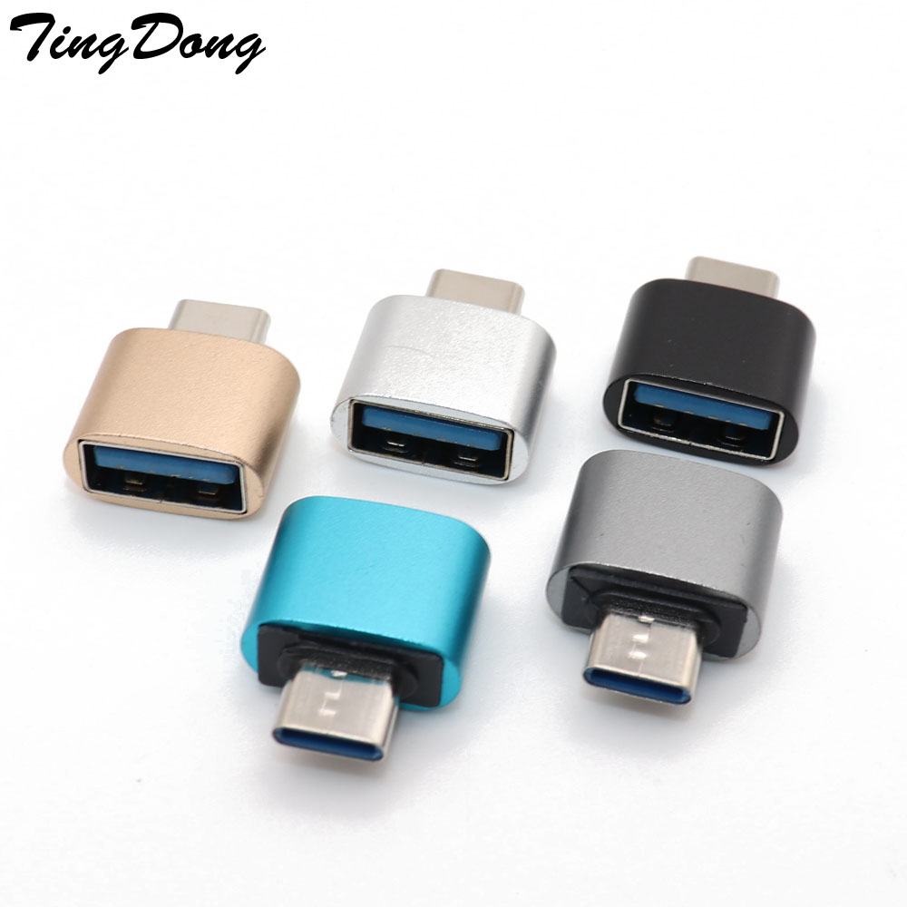 TingDong  1PCS Type C To USB OTG Converter Metal Male To Female USB-C  Adapter For Android Smartphones For Xiaomi For Huawei