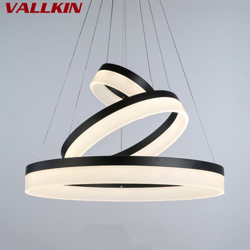 Black Color Modern Pendant Lights Acrylic Indoor Lamps for Living Dining Room 3 Circle Rings LED Lighting Ceiling Lamp Fixtures tiffany mediterranean dining room pendant lamps european style simple triple staircase modern living room lamp pendant lights