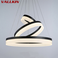 Black Color Modern Pendant Lights Acrylic Indoor Lamps for Living Dining Room 3 Circle Rings LED Lighting Ceiling Lamp Fixtures
