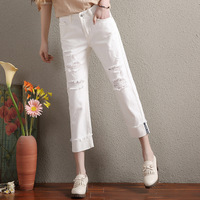 Jeans Woman 2017 Autumn Fashion New Female White Ripped Denim Jeans Loose Fit Elastic Distressed Cropped