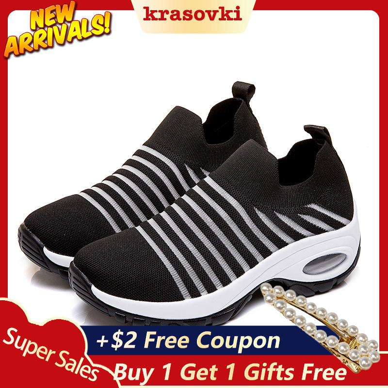 Krasovki Sneakers Women Casual Shoes Platform Flying Knitting Breathable Comfortable Walking Female Fashion Slipony