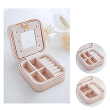 Korean Creative Jewelry Box Organizer Travels Portable Leather Ring Bracelet Earring Display Storage Drawer Box Case with Mirror(China)