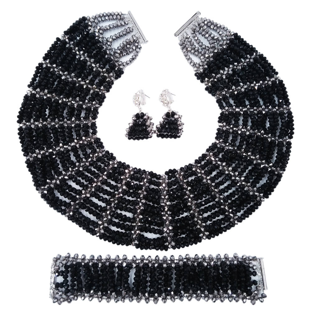 Black Silver Crystal Beaded Necklace Nigerian Wedding African Beads Jewelry Set for Women Bridal Party Beads Sets SXK001 purple clear ab crystal african wedding beads nigerian beaded necklace jewelry set bridal party jewelry sets for women 10c sz30