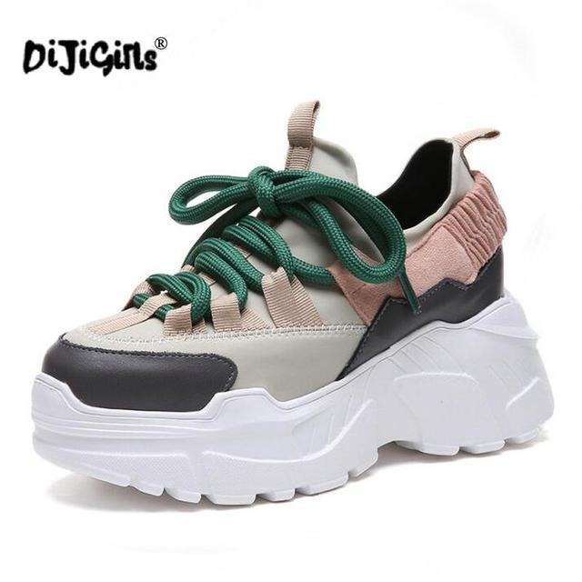 Yeni Sonbahar Kış Platformu Sneakers Kadın Yüksekliği Artan 7 cm Tıknaz Ayakkabı Kadın Artı Boyutu Bayanlar Kama Ayakkabı Damla Nakliye