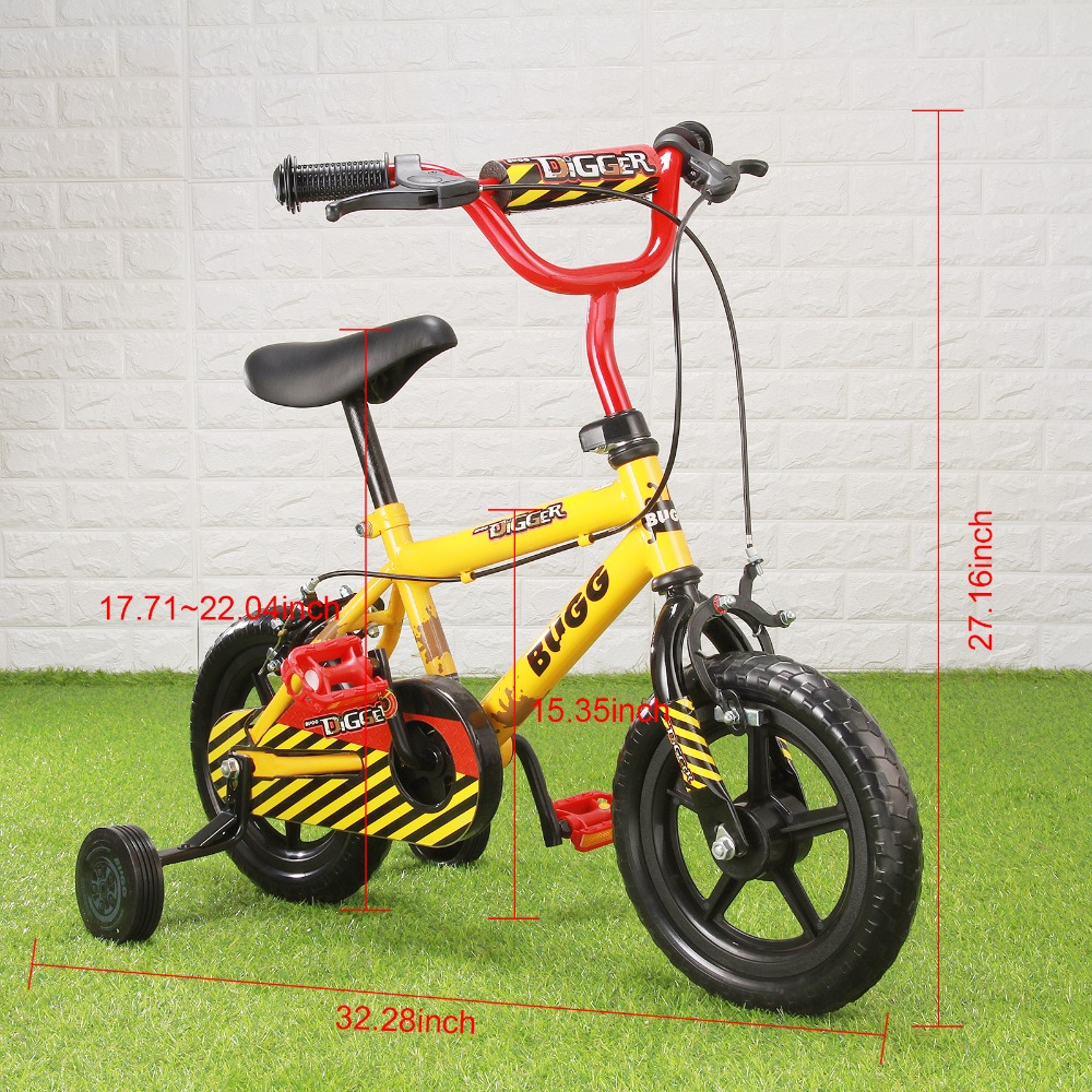 12 yellow Kid's Bike Cycling Child Bicycle for Age 20 Month To 4 Years Old kids cycling bike student bicycle for Boys and girls children ride on toys balance bike three wheels tricycle for kid bicycle baby walker for 1 to 3 years old child best gift