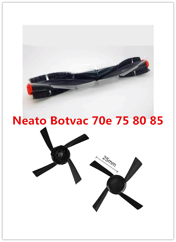 Replacement Neato Botvac 70e 75 80 85 Universal Combination Brush Blades and Brushes + 2pcs Side Brushes Vacuum Cleaner Parts 4x silicone blades 4x brush 1x beater bearing replacement for neato botvac 70e 75 80 85 automatic vacuum cleaner robots