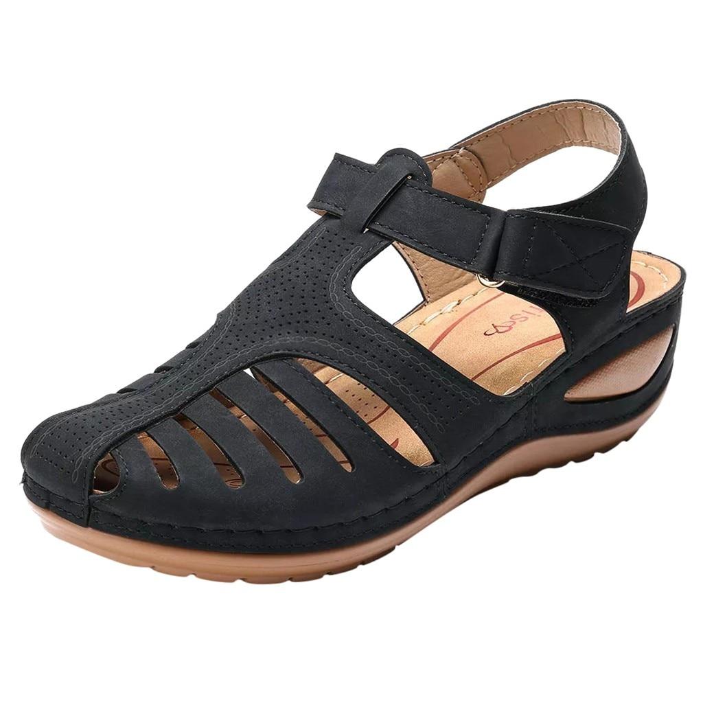 HTB1IavieB1D3KVjSZFyq6zuFpXar Women's Sandals Summer Ladies Girls Comfortable Ankle Hollow Round Toe Sandals Female Soft Beach Sole Shoes Plus Size C40#