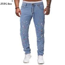 新スタイル男性カジュアルジーンズスペック飾るスリムフィットジーンズユース全長デニムパンツズボン男性大サイズ