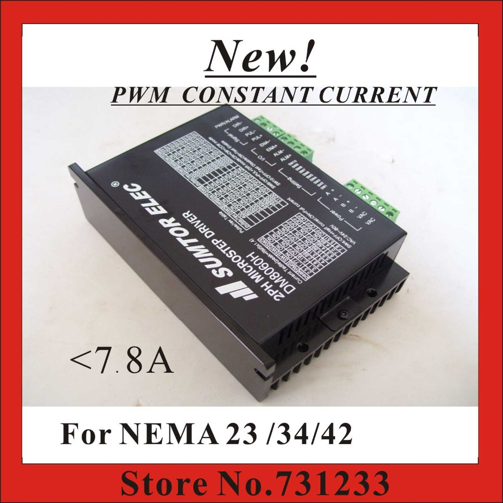 New! CNC Stepper Motor Driver DM8060H For NEMA 17 23 34 Stepper Motor 7.8A DC/AC Supply 256 Subdivision