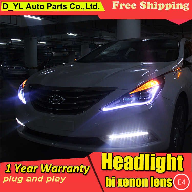 Car Styling Headlights for Sonata8 2011-2014 LED Headlight for Sonata8 Head Lamp LED Daytime Running Light LED DRL Bi-Xenon HID