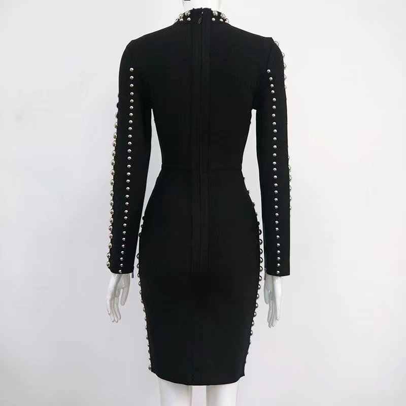 Высококачественное модное платье с длинным рукавом черное Бисероплетение вискозное Бандажное Платье облегающее вечернее платье