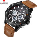 NAVIFORCE Luxury Brand Leather Men's Quartz Watches Digital Analog Display Date Male LED Military Army Watch Men Sports Watches