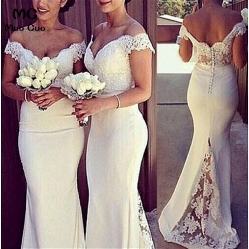 2018 Mermaid   Bridesmaid     Dresses   Long V-Neck Formal Wedding Party   Dress   Short Sleeve Button Zipper Women   Bridesmaid     Dress