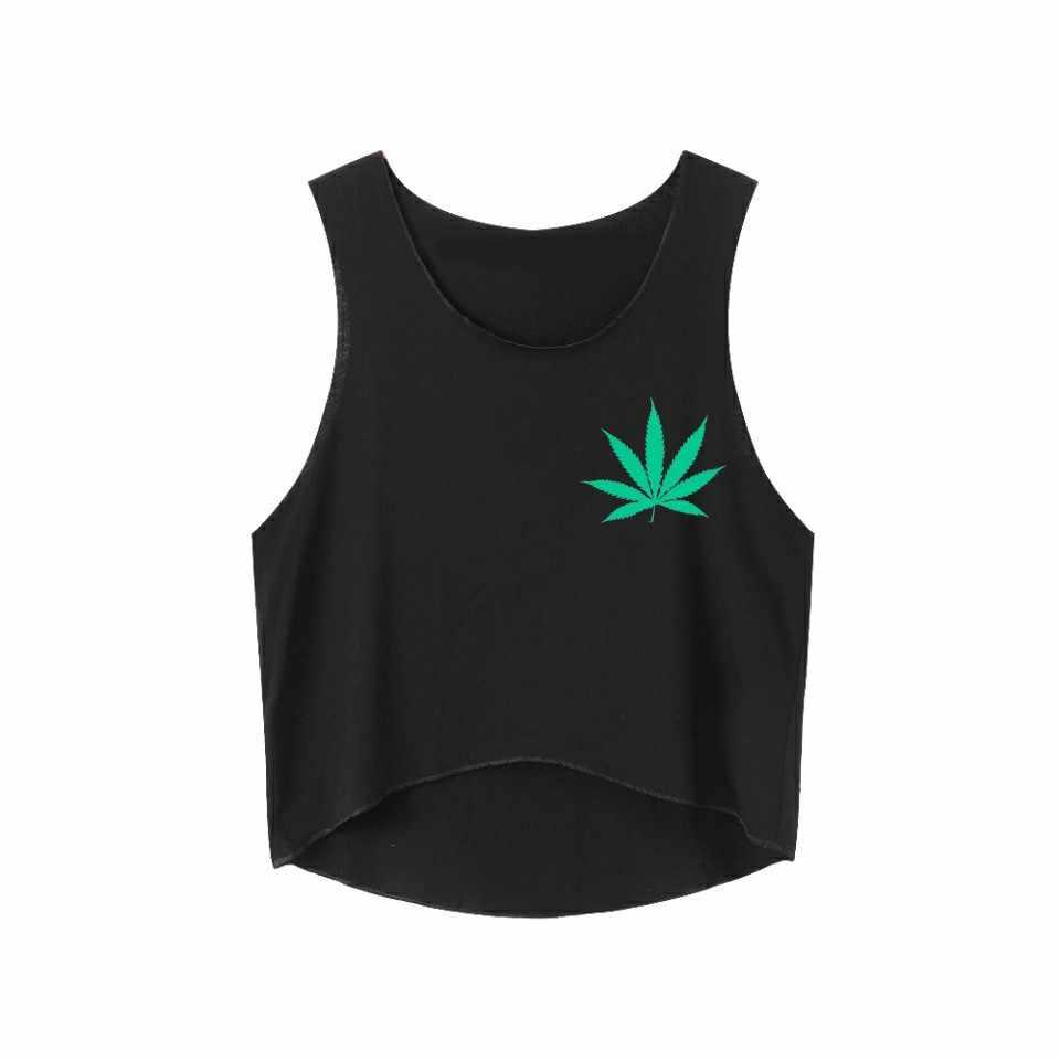 6824184fe5c7c Weed Leaf Print Women T Shirt Sexy Cotton Women Crop Top Summer Fashion Sleeveless  Tank Casual