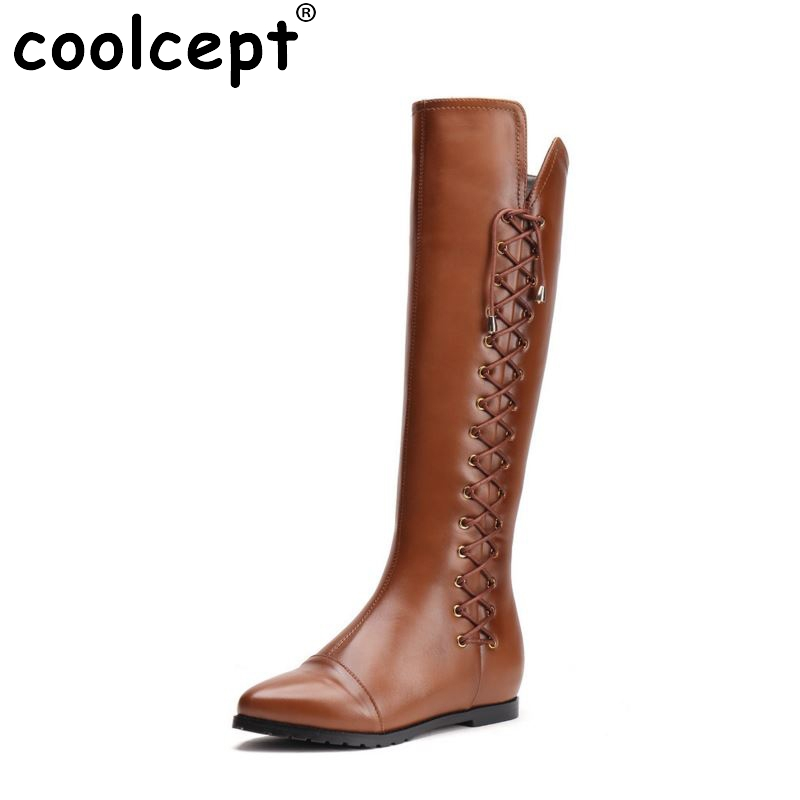 women real genuine leather flat over knee boots brand long boot winter warm botas militares footwear shoes R7525 size 34-39 women real genuine leather flat mid calf boots autumn winter half short boot frenal fashion footwear shoes r8285 size 34 39