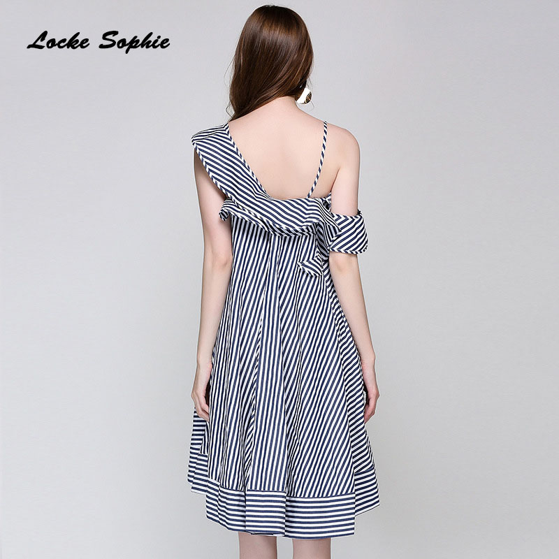 1pcs High waist Ladies Plus size party dresses 2019 Summer cotton blend irregular stripe Camisole Dress women 39 s Skinny Dress in Dresses from Women 39 s Clothing