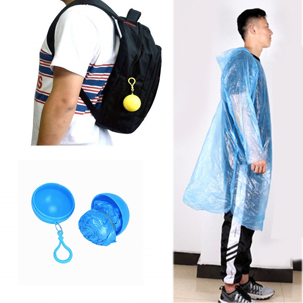 Unisex Waterproof Disposable Portable Rain Jacket Waterproof Poncho Keychain Outdoor Bike Hiking Rain Coat Accessories(China)