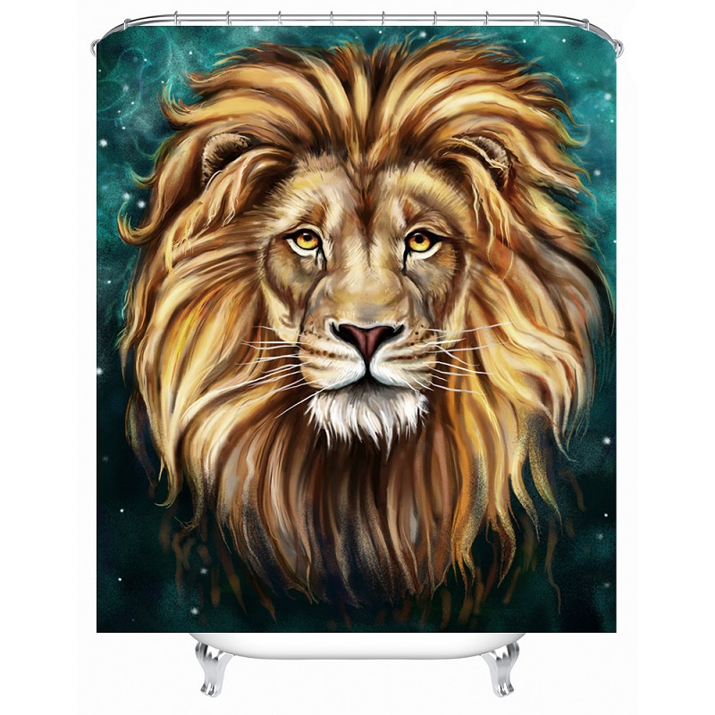 Shower Curtain Custom Lion Printed 180x180cm Waterproof Polyester Bath Bathroom Accessories Curtains Home Decoration