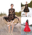 Red Short Cocktail Dress Party Dress Tulle Long Sleeve Prom dress with Long Sleeve Lace Appliques Red Black