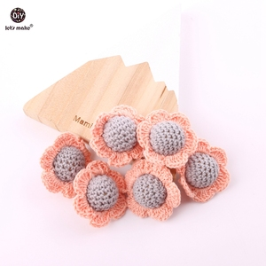 Let's Make Crochet Beads Flower 2pc Wooden Chewable Beads Handmade Safe and Non-toxic DIY Jewelry Baby Teether