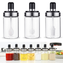 Kitchen Glass Seasoning Bottle Salt Storage Box Spice Jar with Spoon Kitchen Supplies For Salt Sugar Pepper Powder
